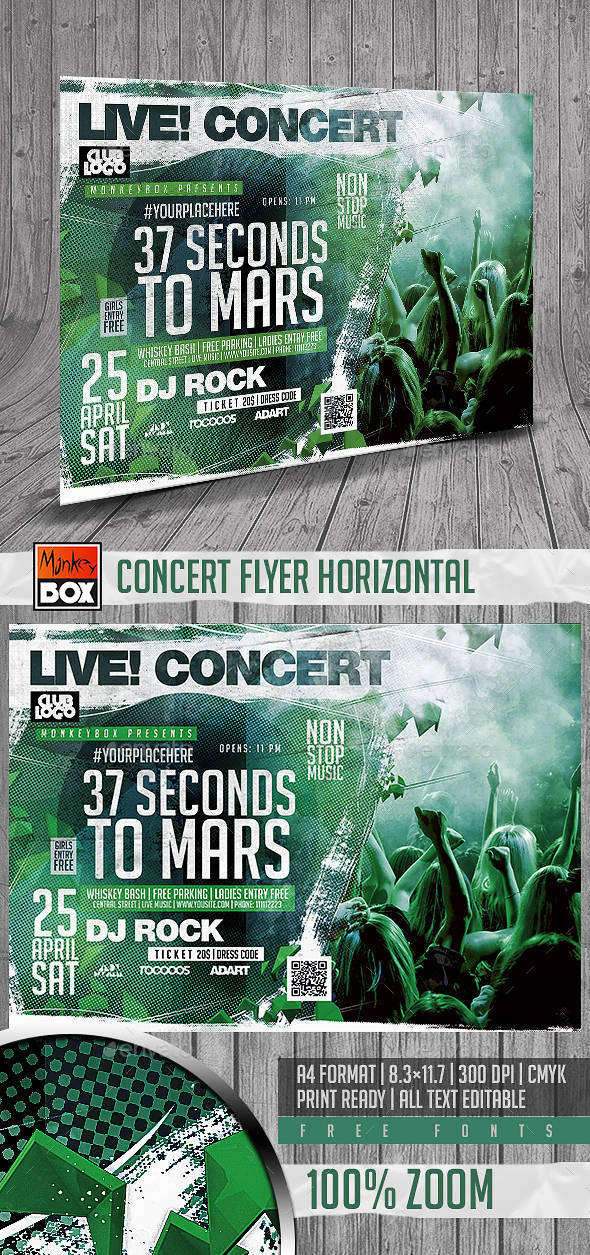 Concert Flyer Horizontal - Flyers Print Templates