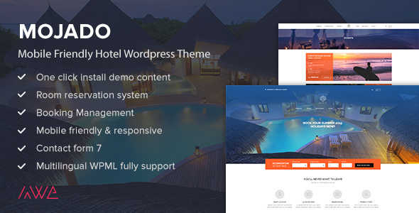 Mojado - Mobile Friendly Hotel WordPress Theme - Travel Retail