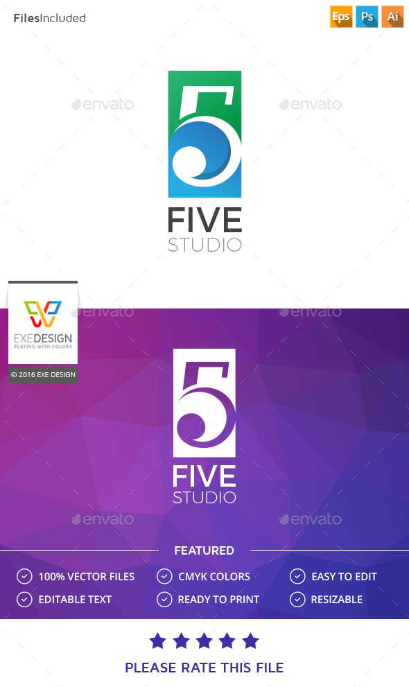 Number Five Logo - Numbers Logo Templates