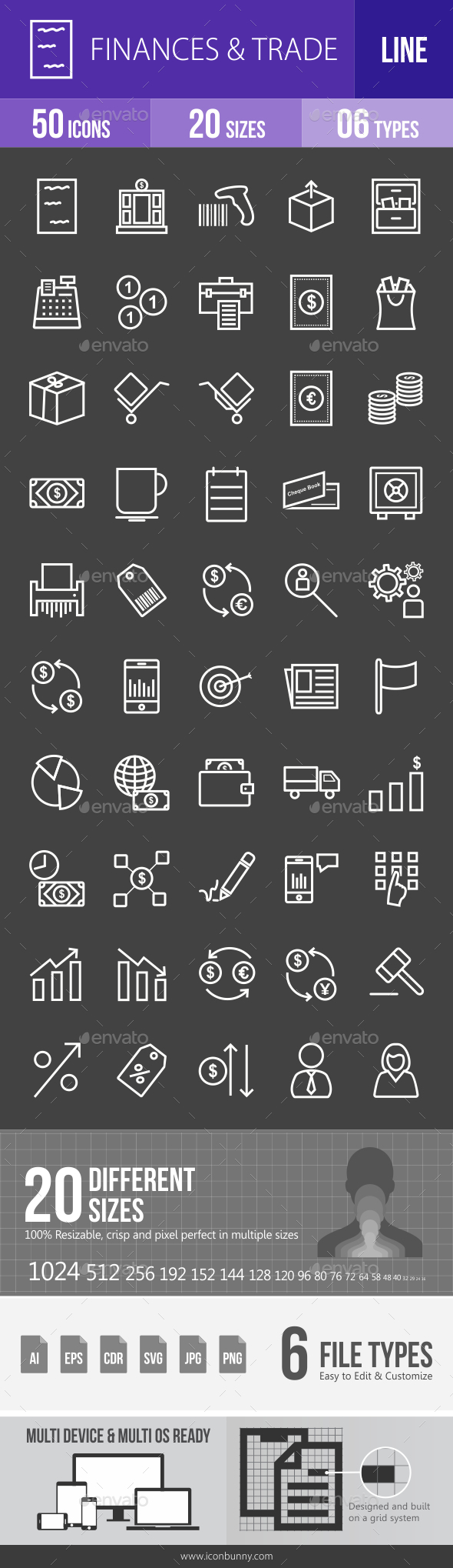 Finances & Trade Line Inverted Icons - Icons