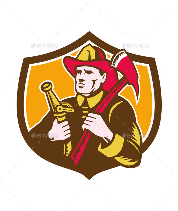 Fireman Firefighter  Axe Hose Crest Woodcut - People Characters