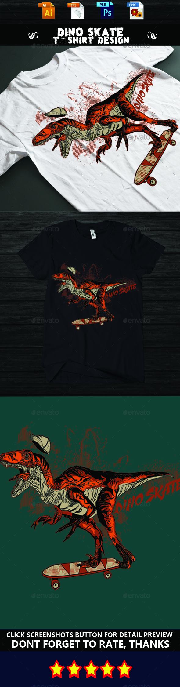 DINO SKATE T-shirt design - Funny Designs