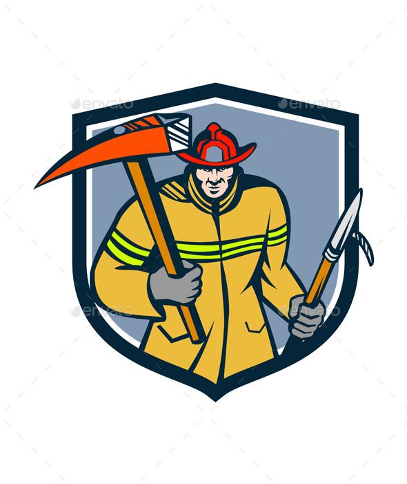Fireman Firefighter Fire Axe Hook Crest Retro - People Characters
