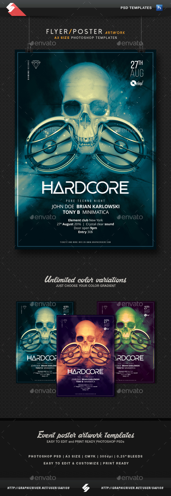 Hardcore - Party Flyer / Poster Template A3 by Sao108 | GraphicRiver