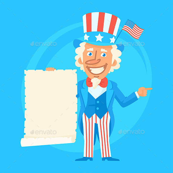 Uncle Sam Holds Paper Scroll and Indicates - People Characters