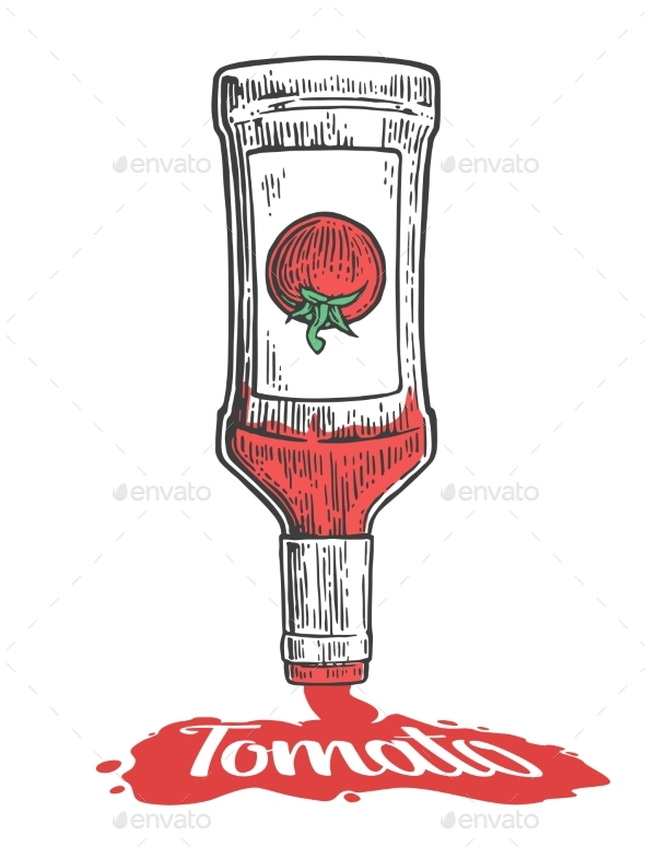 Ketchup Flows From a Bottle - Food Objects