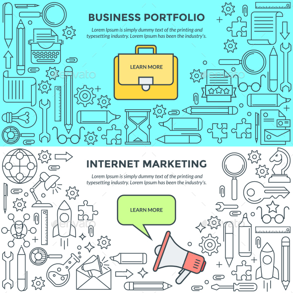 Banners for Internet Marketing and Business Portfolio - Concepts Business