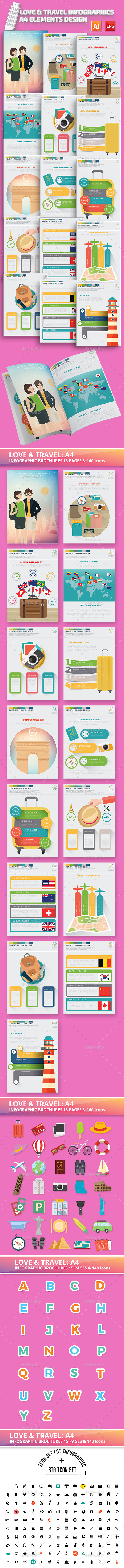 Love & Travel Infographics A4 Template Design - Infographics