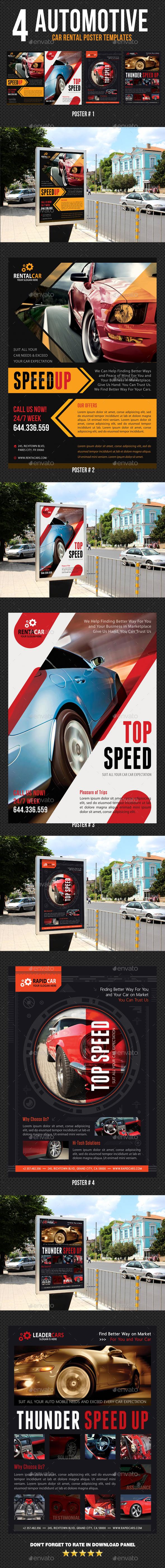 4 Automotive Car Rental Poster Bundle 02 - Signage Print Templates