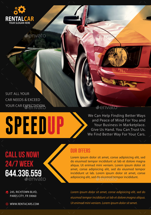 4 automotive car rental poster bundle 02 by rapidgraf