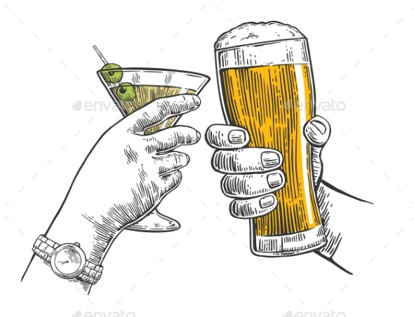 Two Hands Clink a Glass of Beer and a Martini - People Characters