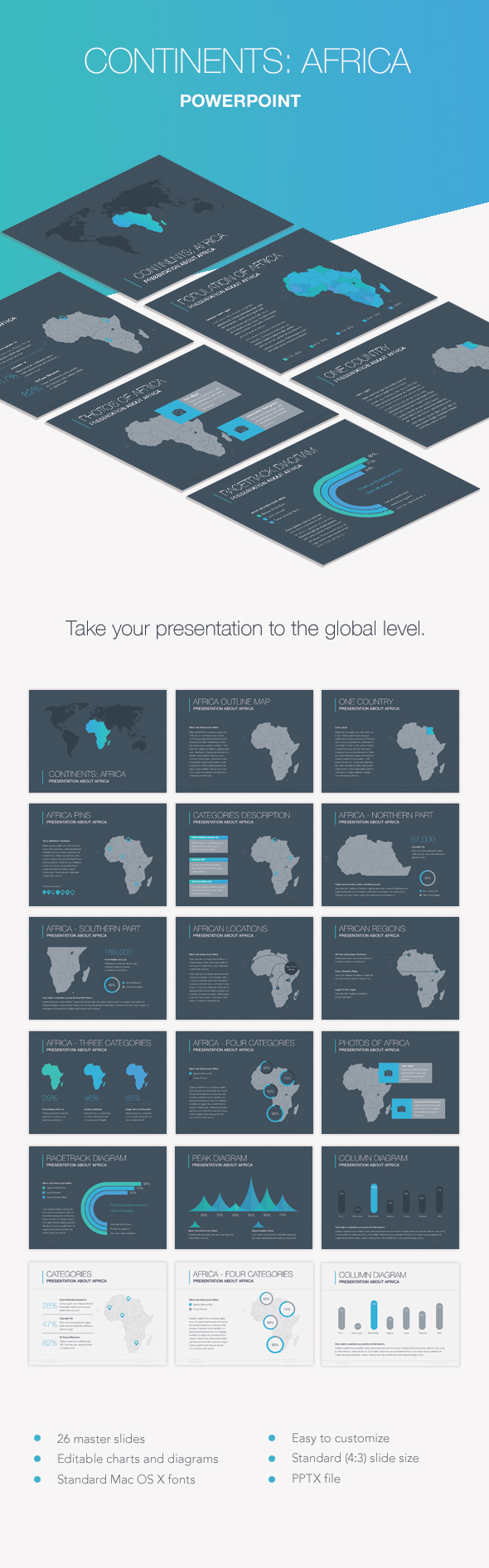 Continents: Africa PowerPoint Template - Presentation Templates