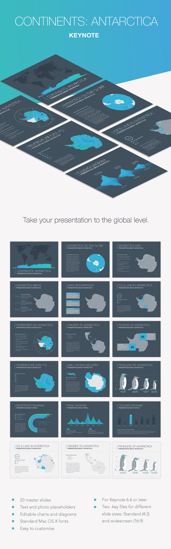 Continents Antarctica Keynote Template - Presentation Templates