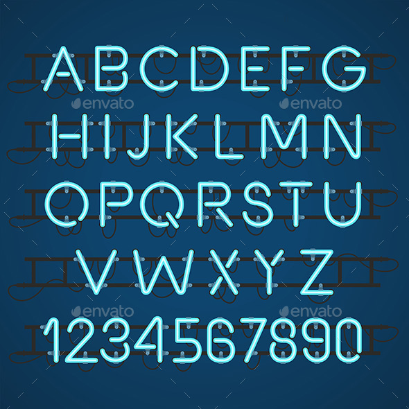 Neon Light Alphabet Vector Font - Decorative Symbols Decorative