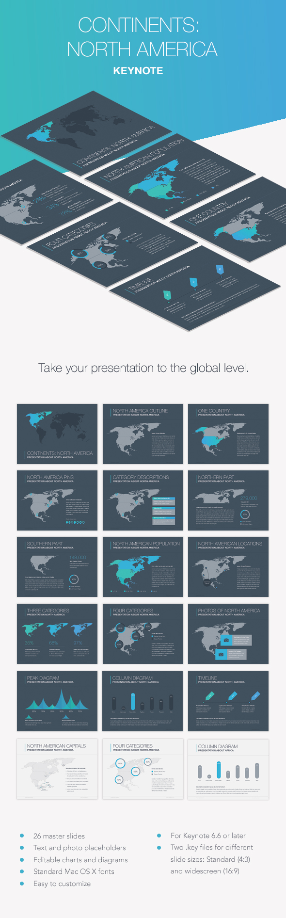 Continents: North America Keynote Template - Presentation Templates