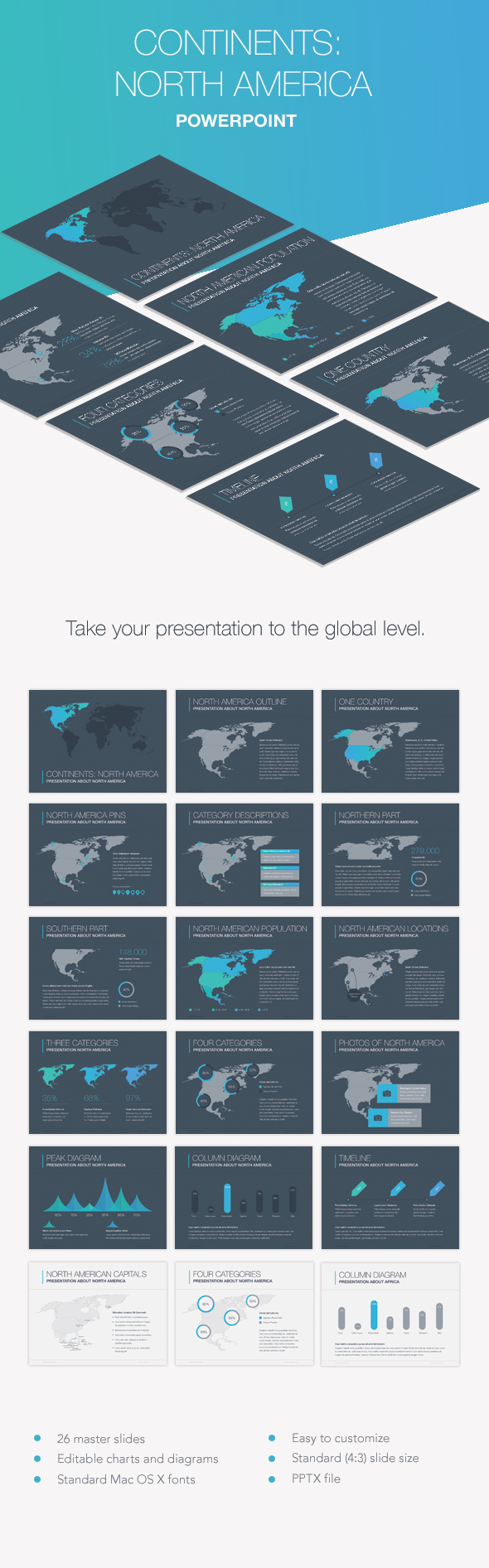 Continents north america powerpoint template by jumsoft graphicriver continents north america powerpoint template presentation templates toneelgroepblik Image collections