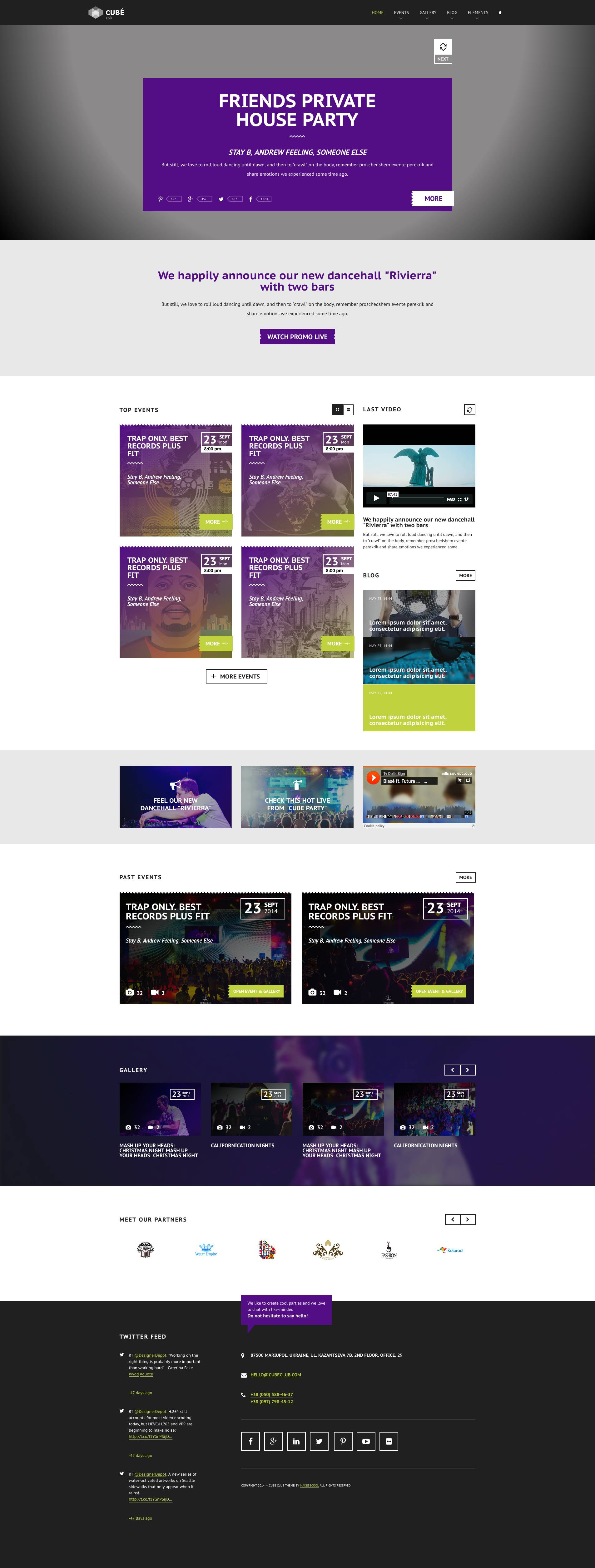 Club Cube V 2 Responsive Html5 Theme For Night Club By