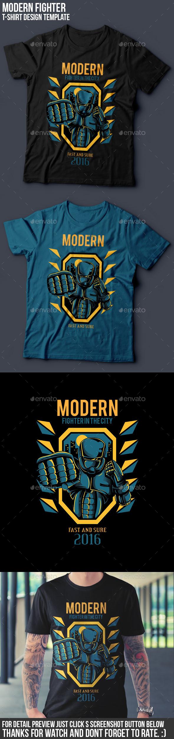Modern Fighter T-Shirt Design - Sports & Teams T-Shirts