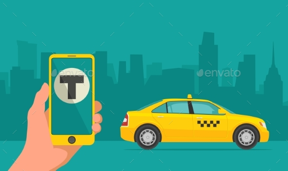 Phone with Interface Taxi on Screen - Communications Technology