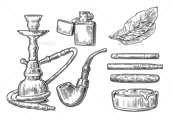 Set of Vintage Smoking Tobacco Elements - Man-made Objects Objects