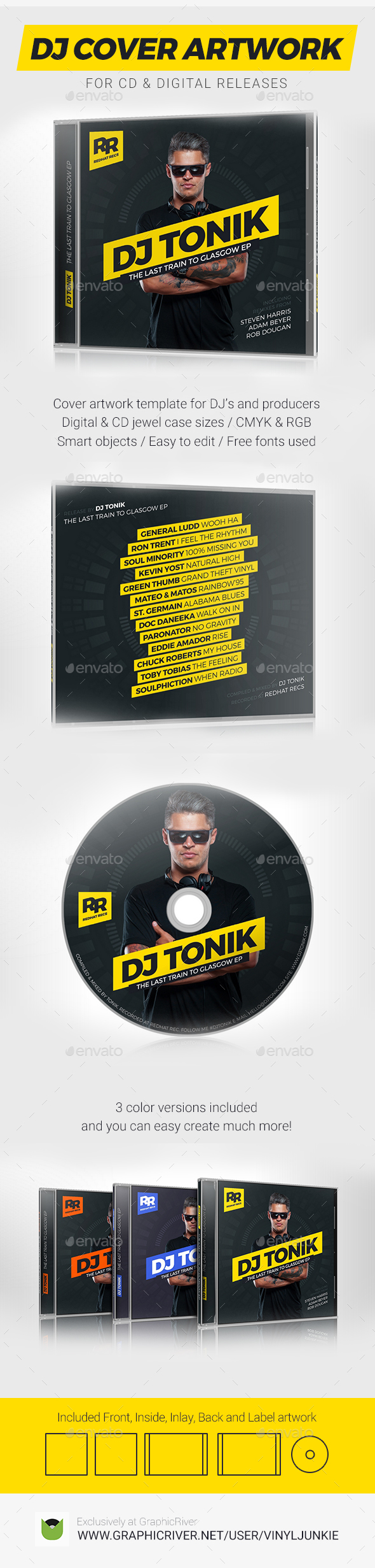 ProDJ - DJ Mix / Album CD Cover Artwork PSD Template - CD & DVD Artwork Print Templates