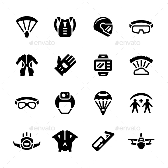 Set Icons of Parachute - Man-made objects Objects