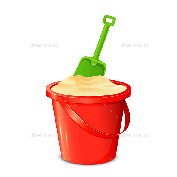 Bucket Shovel and Sand - Man-made Objects Objects