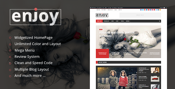 Enjoy – WordPress Magazine and Blog Theme