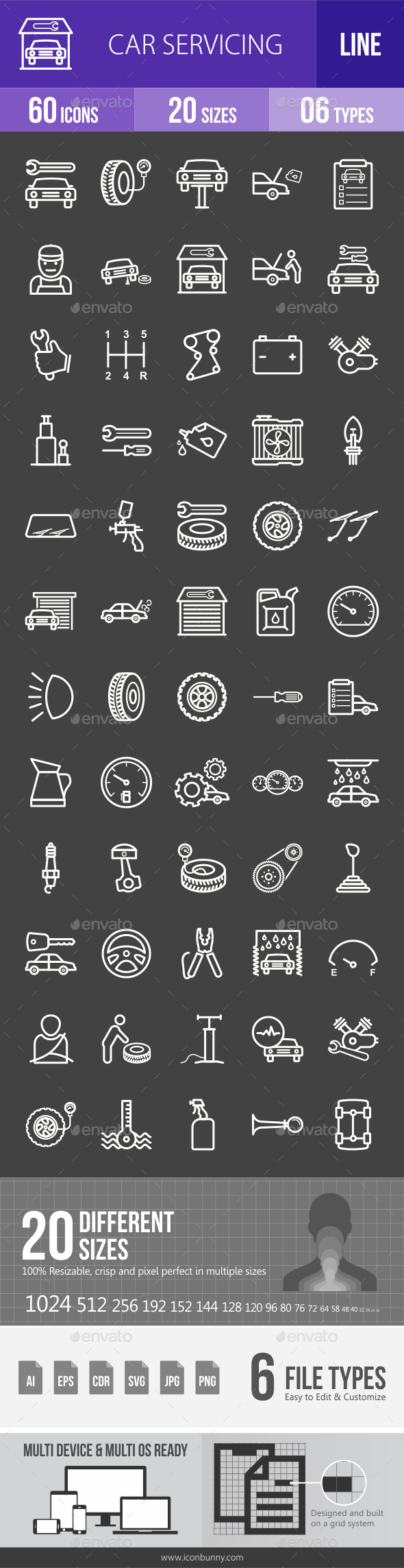 Car Servicing Line Inverted Icons - Icons