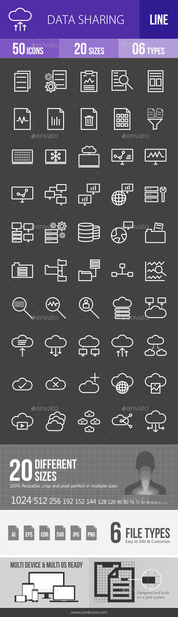 Data Sharing Line Inverted Icons - Icons