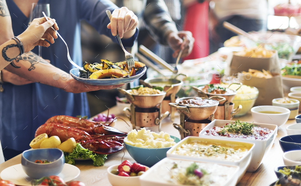 Catering Eating Companionship Buffet Festive Concept - Stock Photo - Images
