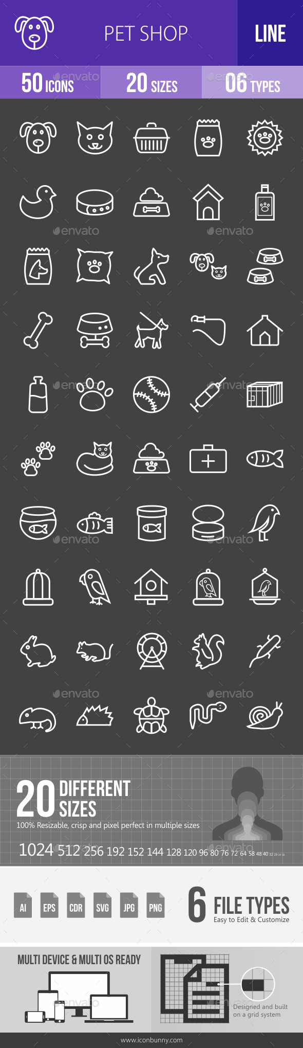 Pet Shop Line Inverted Icons - Icons