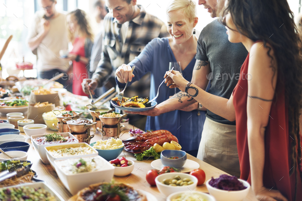 Food Buffet Catering Dining Eating Party Sharing Concept - Stock Photo - Images