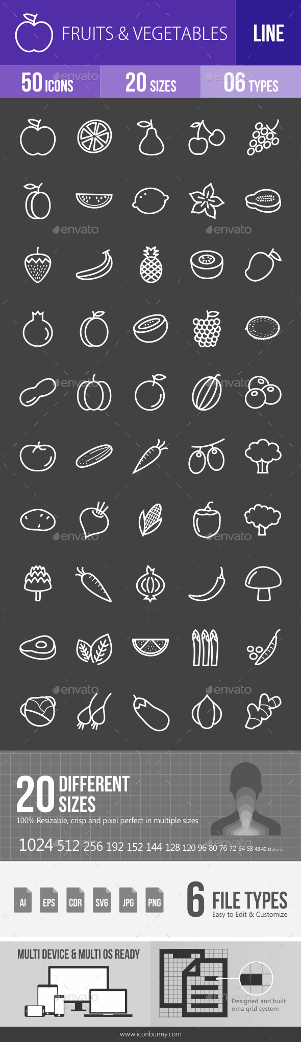 Fruits & Vegetables Line Inverted Icons - Icons