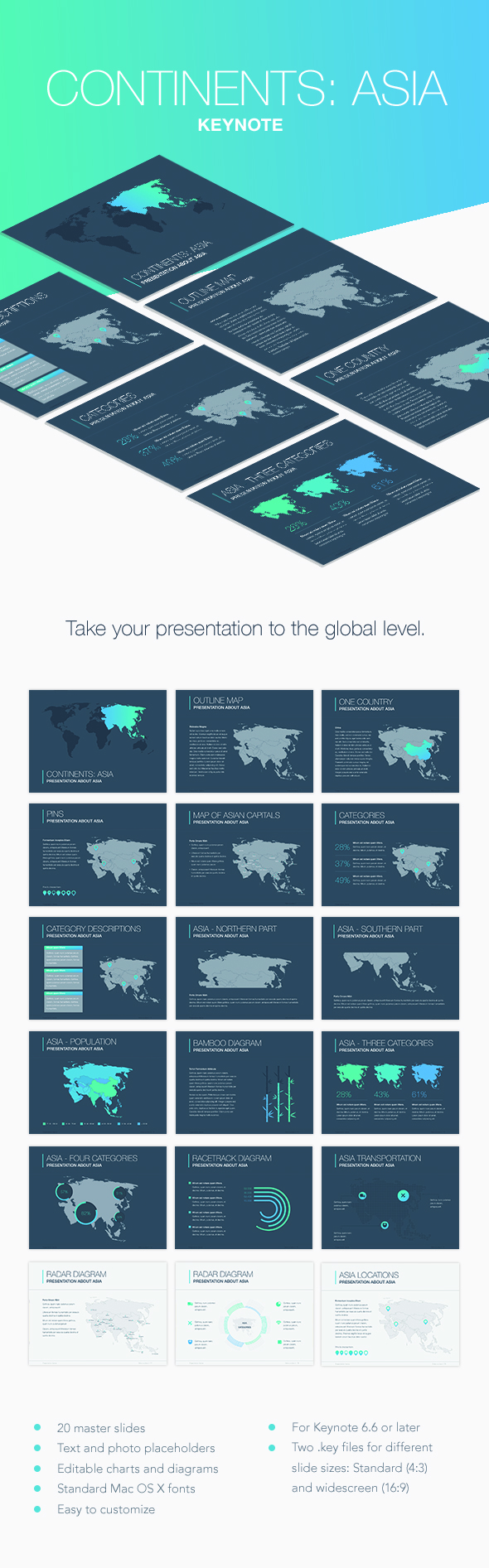 Continents: Asia Keynote Template - Keynote Templates Presentation Templates