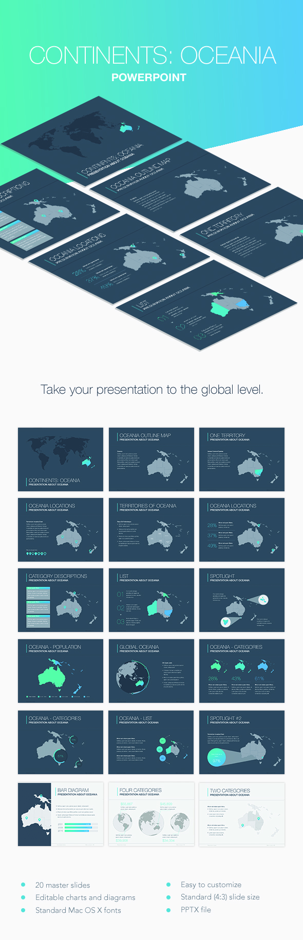 Continents: Oceania PowerPoint Template - Keynote Templates Presentation Templates
