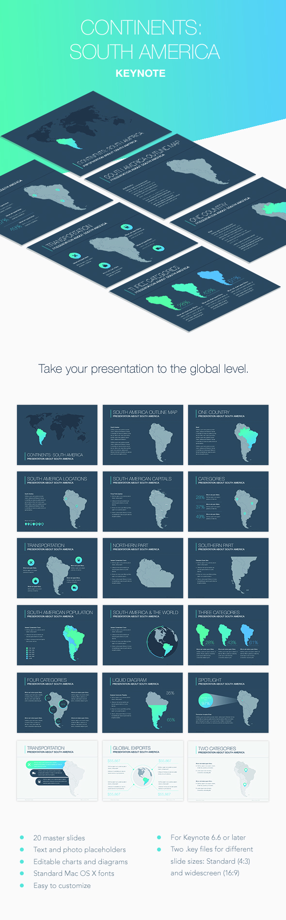 Continents: South America Keynote Template - Keynote Templates Presentation Templates