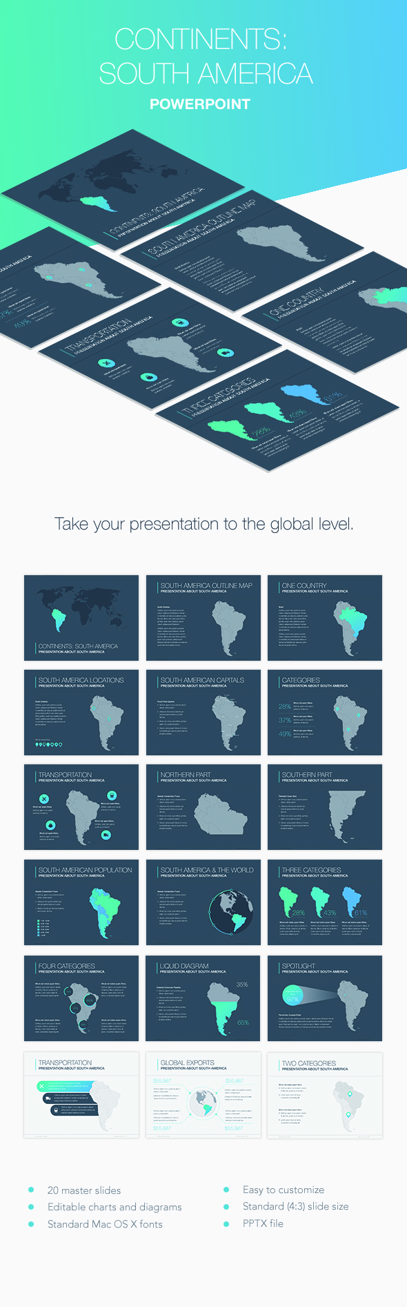 Continents south america powerpoint template by jumsoft graphicriver continents south america powerpoint template keynote templates presentation templates toneelgroepblik Choice Image