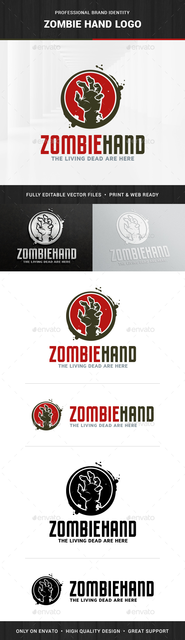 Zombie Hand Logo Template - Humans Logo Templates
