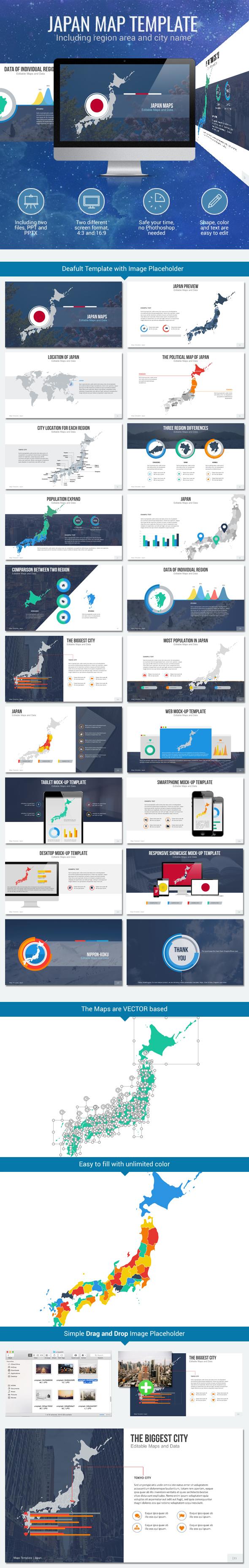 Japan - Editable Map Presentation - PowerPoint Templates Presentation Templates