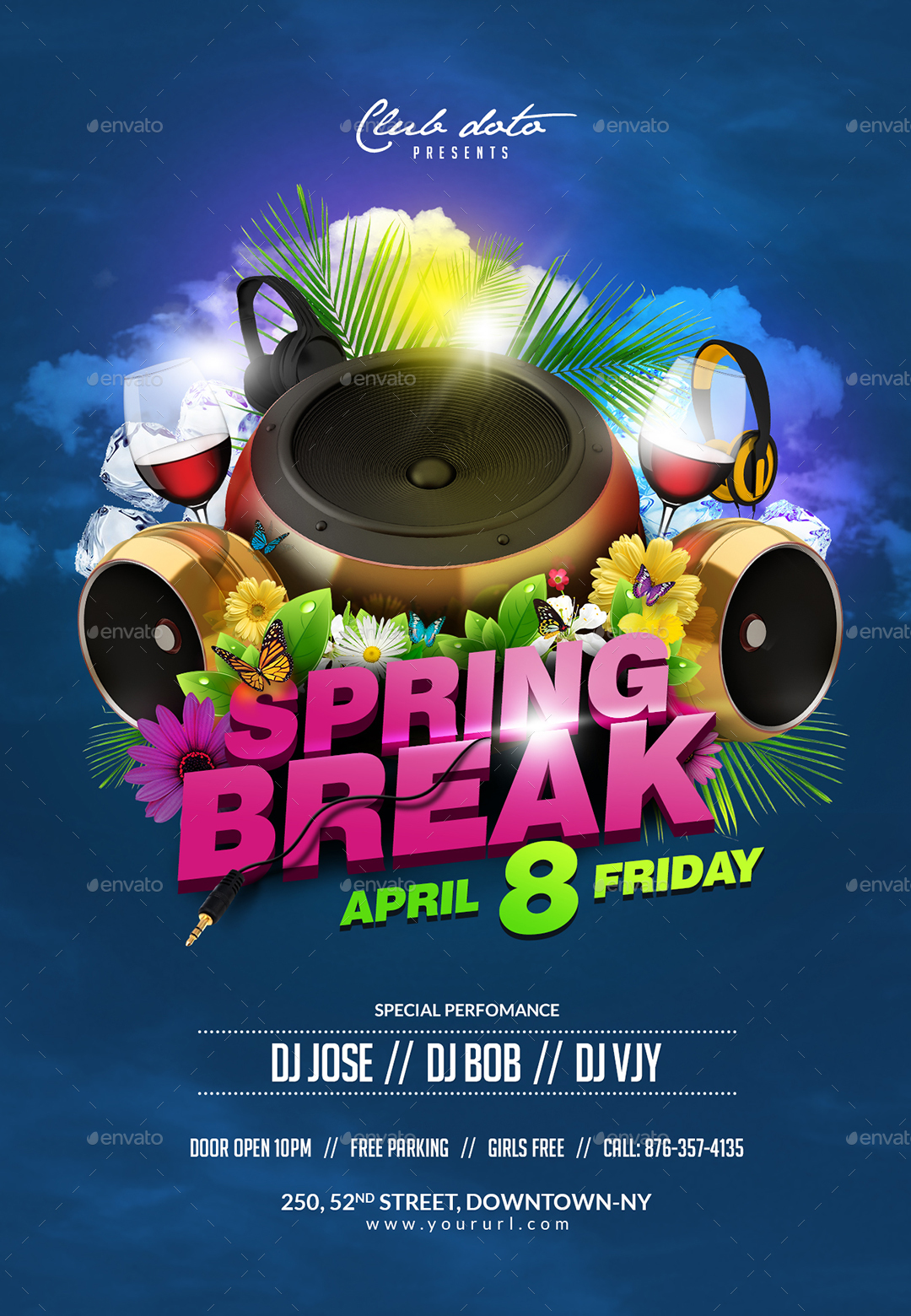Spring Break Flyer Template by doto | GraphicRiver