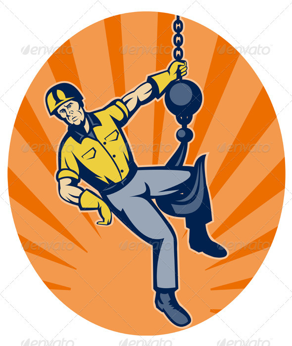 Construction Worker On Hook Retro - People Characters
