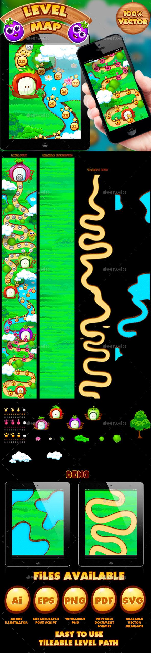 Veggies Game UI Level Map - Game Kits Game Assets