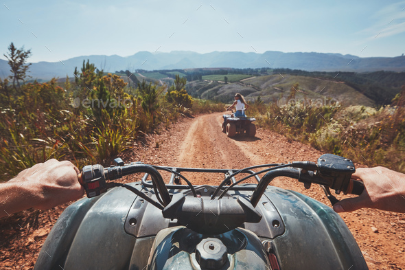 View from a quad bike in nature - Stock Photo - Images