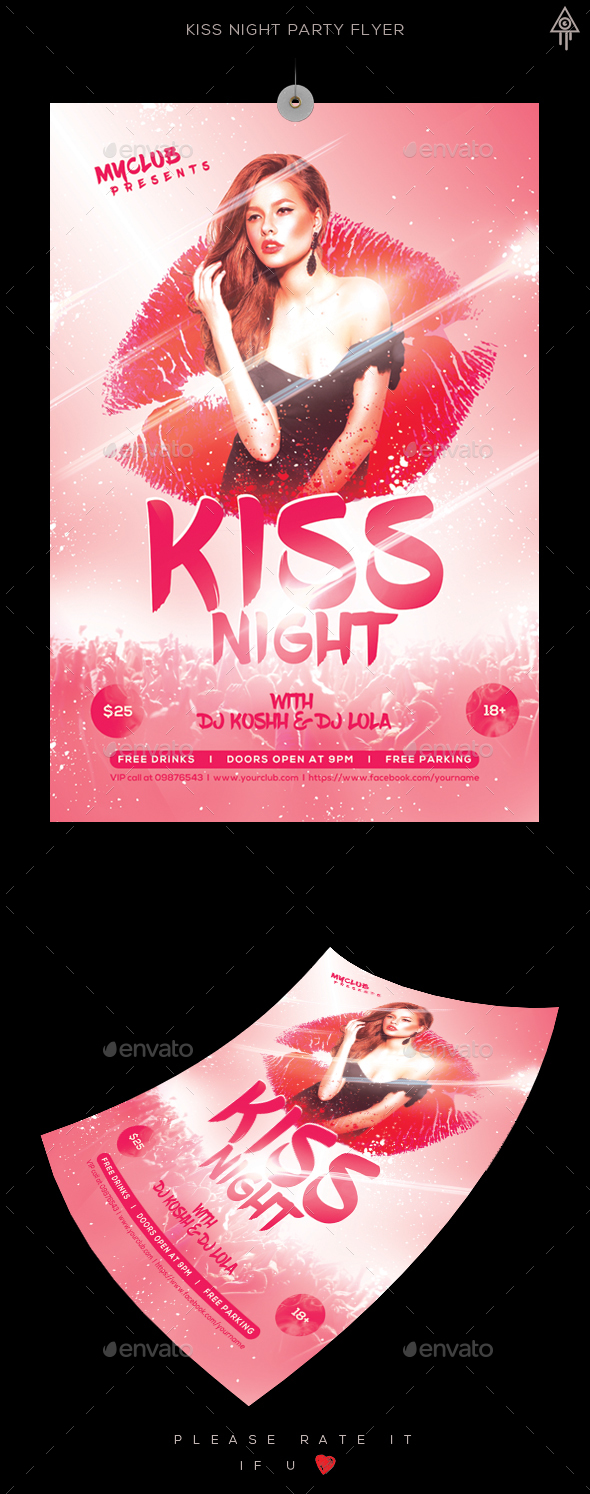 Kiss Night Party Flyer - Clubs & Parties Events