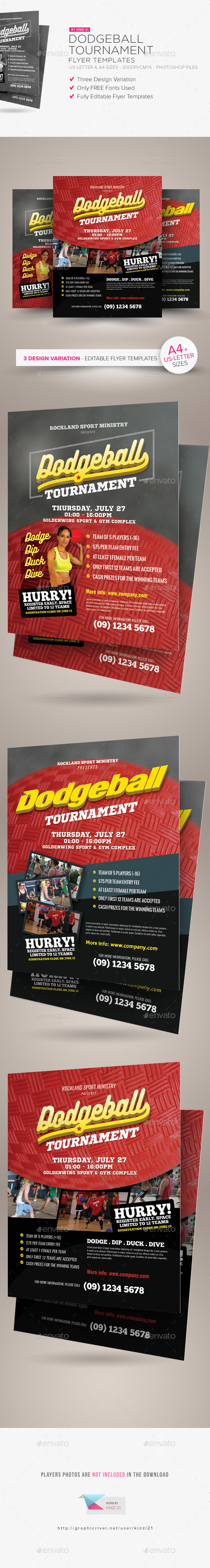 Dodgeball Tournament Flyer Templates - Sports Events