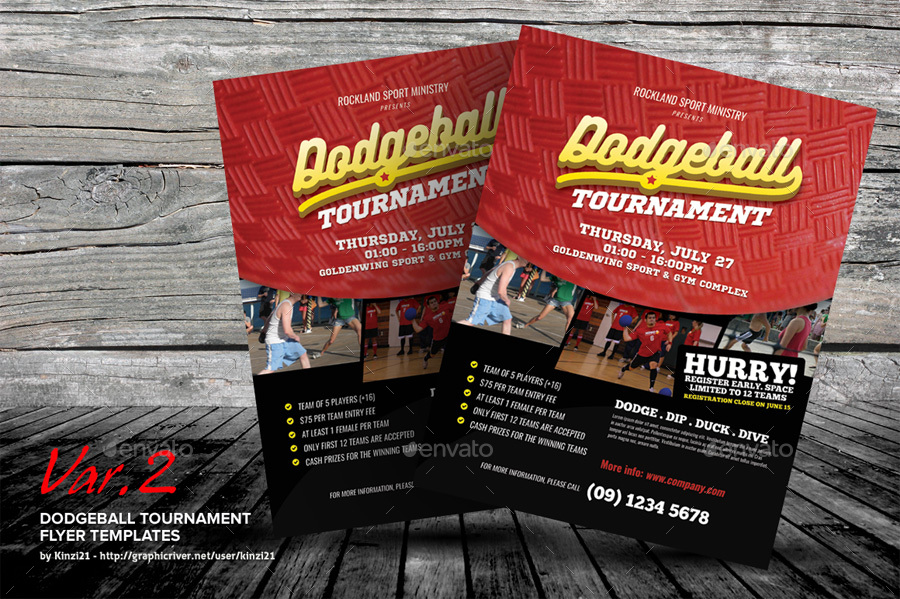 Dodgeball Tournament Flyer Templates By Kinzi21 Graphicriver