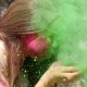 Girl Blows Off The Powder From Her Hands - VideoHive Item for Sale