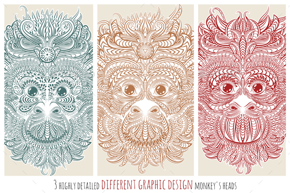 Different Design of Monkeys - Animals Characters