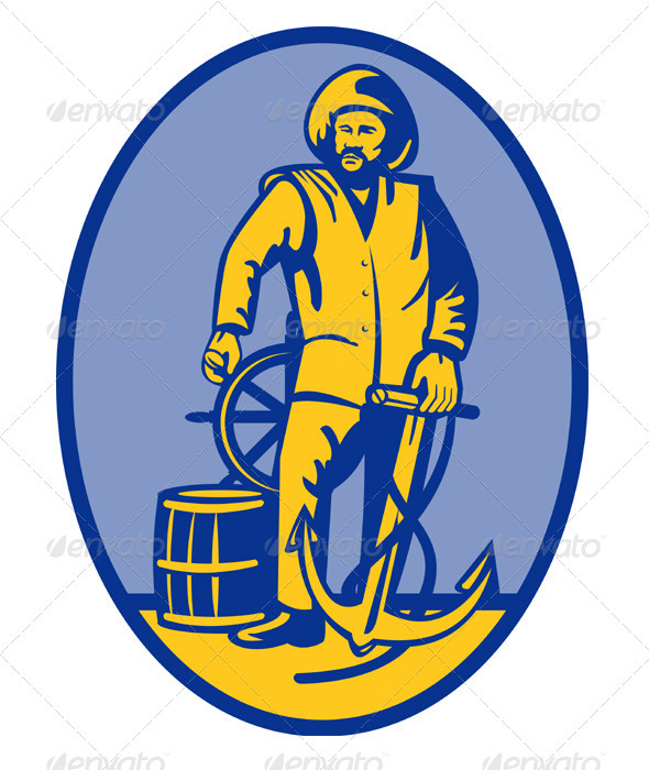 Fisherman Ship Captain  Retro Style - People Characters